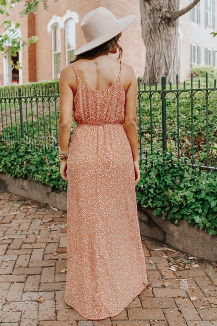 Catalina Surplice Dusty Coral Dotted Maxi