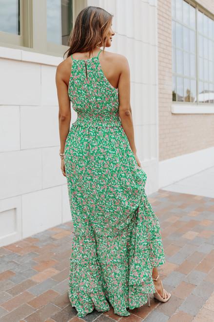 Halter Smocked Green Floral Tiered Maxi