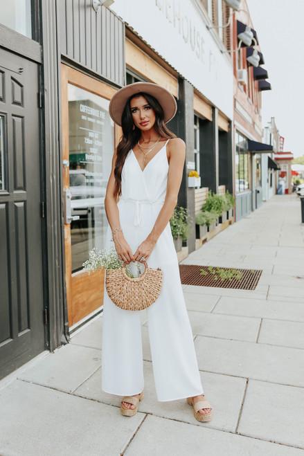 Calla Surplice Drawstring White Jumpsuit