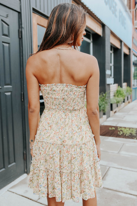 Strapless Smocked Taupe Floral Tiered Dress