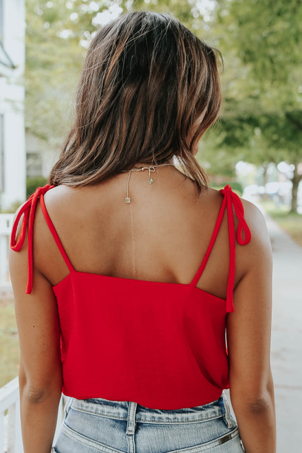 Lighthouse Point Tie Strap Red Bodysuit
