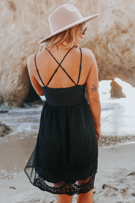 V-Neck Lace Bralette Black Dress