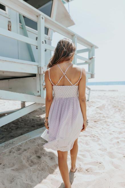 V-Neck Lace Bralette Lilac Dress