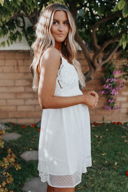 V-Neck Lace Bralette White Dress