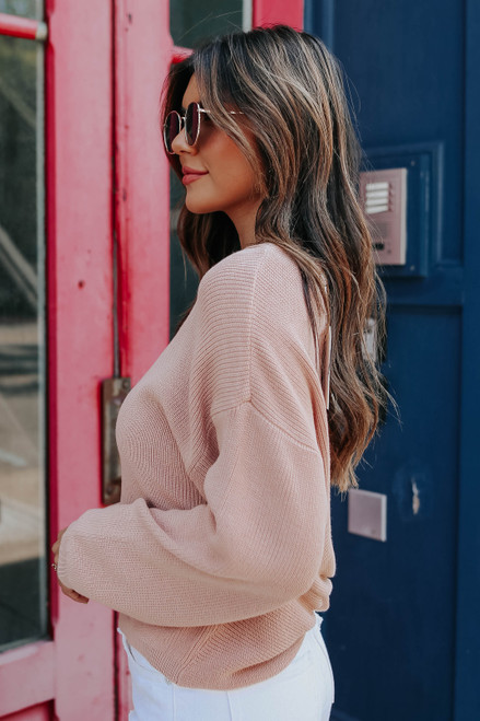 Twisted Open Back Peach Rose Ribbed Sweater