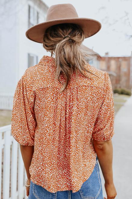Button Down Leopard Knot Shirt