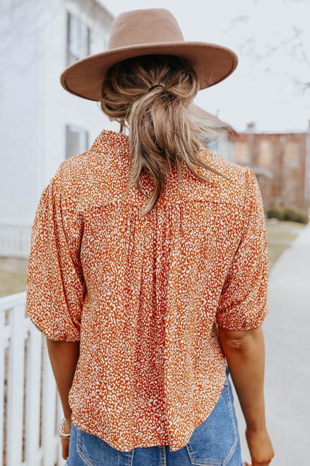 Button Down Leopard Knot Shirt