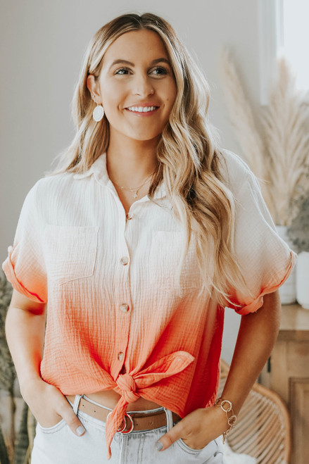 Button Down Knotted Ombre Crinkle Shirt