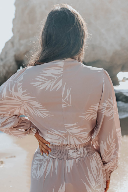Tie Front Taupe Palm Print Top