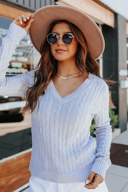 V-Neck Sea Blue Cable Sweater