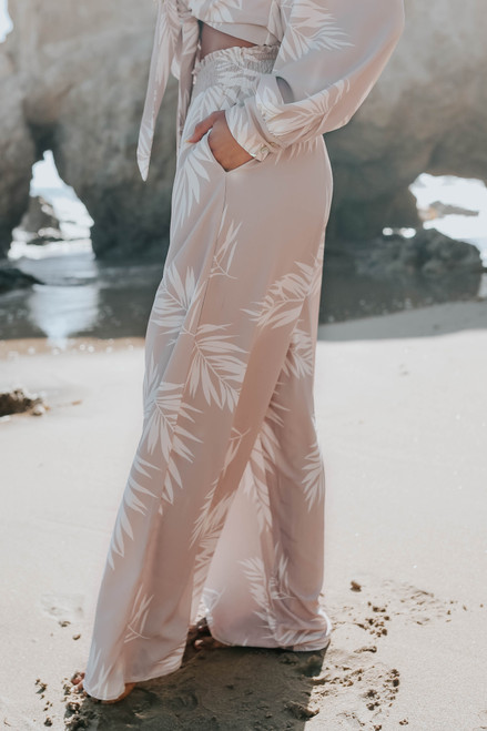 Smocked Waist Taupe Palm Print Pants