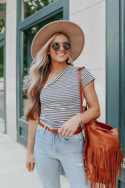 Cool Off One Shoulder Striped Tee