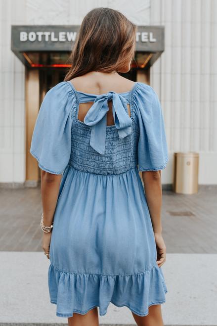 Puff Sleeve Contrast Stitch Smocked Chambray Dress