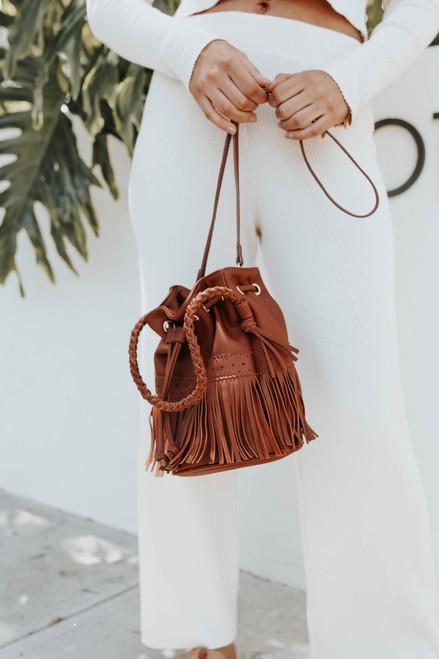 Faux Leather Brown Fringe Bucket Bag