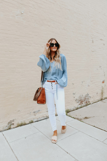 Augustina 5-Button White Skinny Jeans