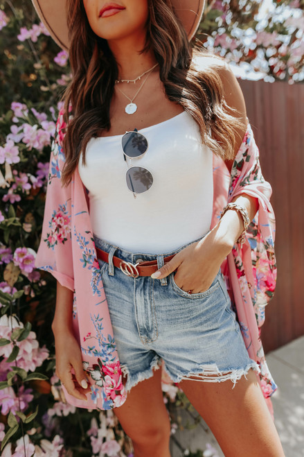 Crazy About You Pink Floral Kimono