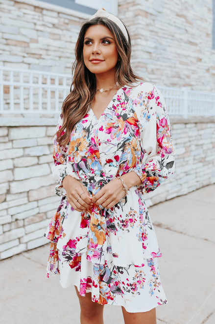 Surplice 3/4 Sleeves Floral Tiered Dress