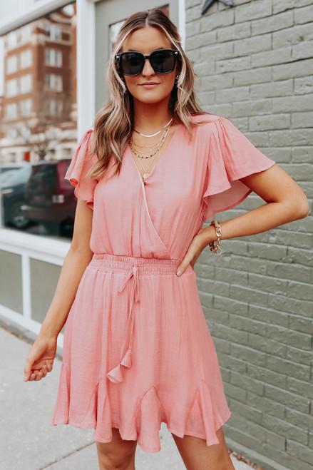 Ruffle Sleeve Surplice Flounce Dress