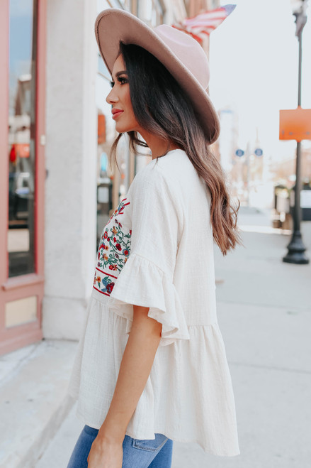 Ruffle Sleeve Natural Embroidered Top