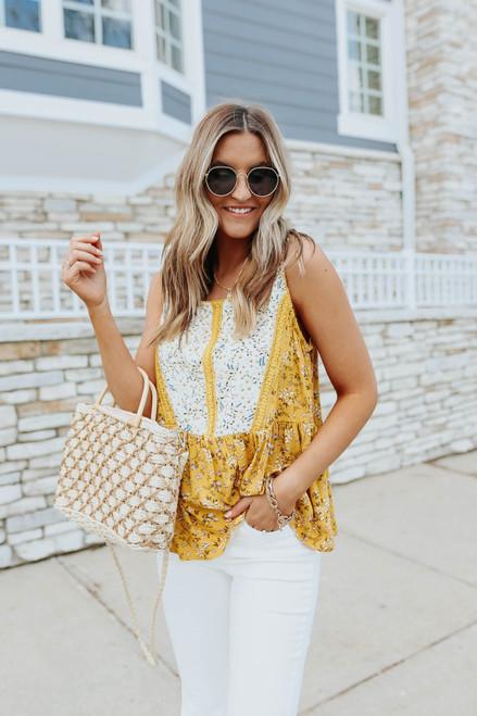 Sleeveless Crochet Mustard Mixed Floral Top