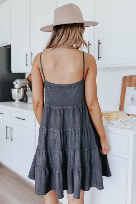 V-Neck Charcoal Vintage Wash Tiered Dress