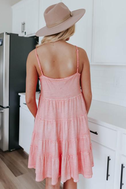 V-Neck Peach Vintage Wash Tiered Dress