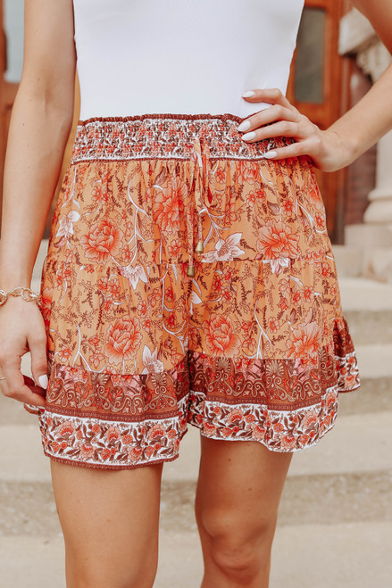 Tangerine Floral Tiered Ruffle Shorts