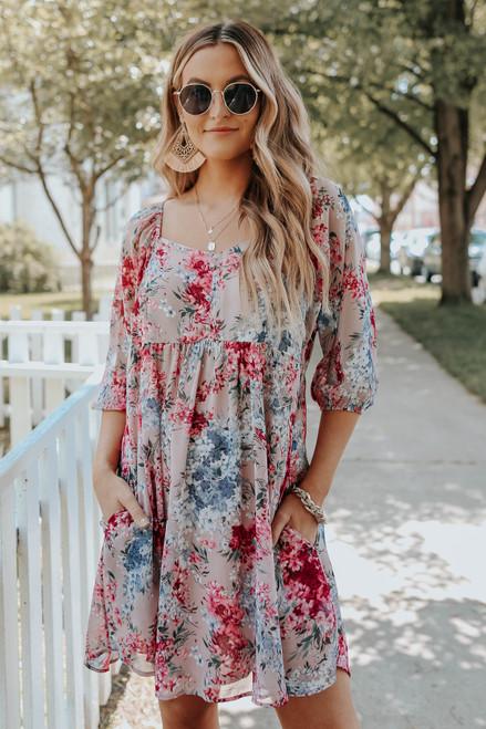 Sweetheart Mauve Floral Babydoll Dress