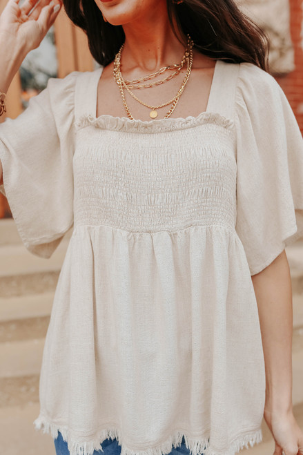 Square Neck Smocked Oatmeal Linen Top