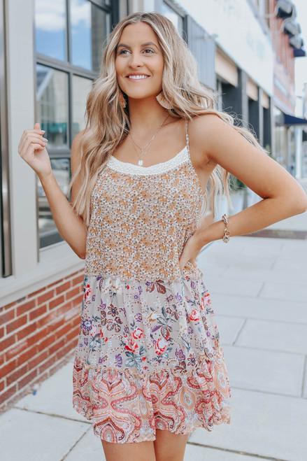 Scoop Neck Mixed Colorblock Tiered Dress