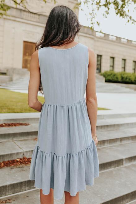 Henley Ruffle Hem Chambray Dress