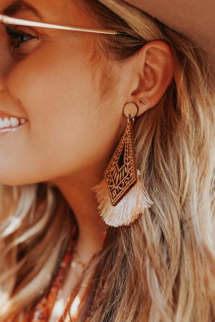 Cutout Wood Statement Fringe Earrings