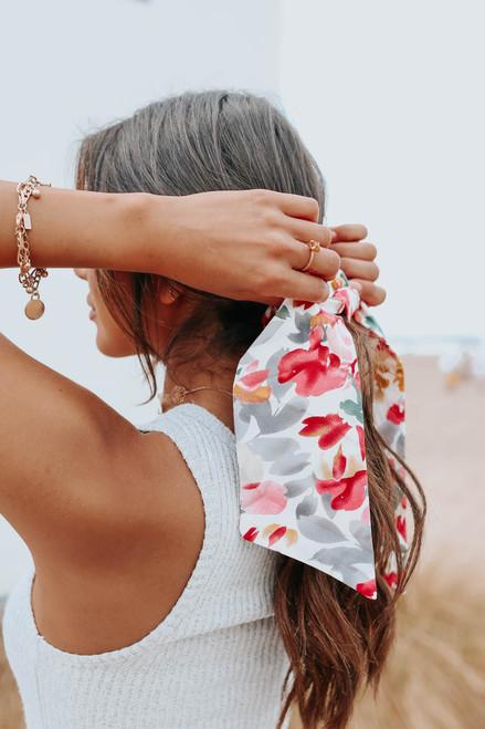Watercolor Floral Hair Tie Scrunchie
