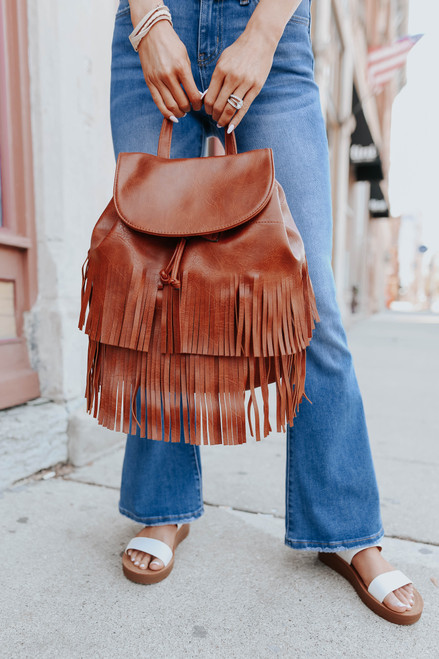 Adley Vegan Leather Brown Fringe Backpack