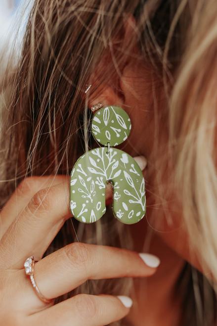 Cora Olive Printed Clay Earrings