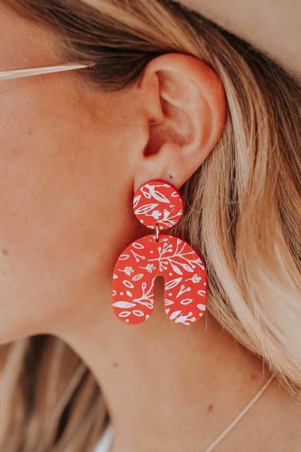 Cora Olive Printed Poppy Earrings