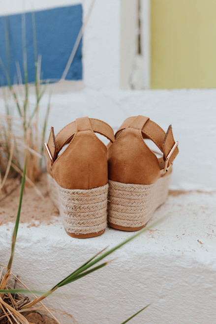 Faux Suede Tan Espadrille Wedges