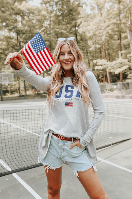 USA Grey Thermal Swing Top