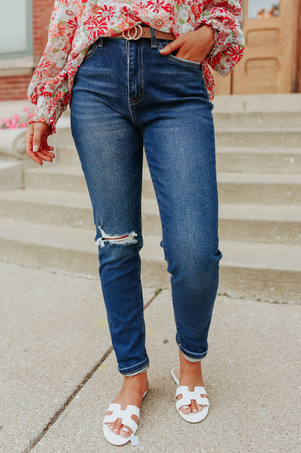 Modern Love Distressed Dark Wash Mom Jeans