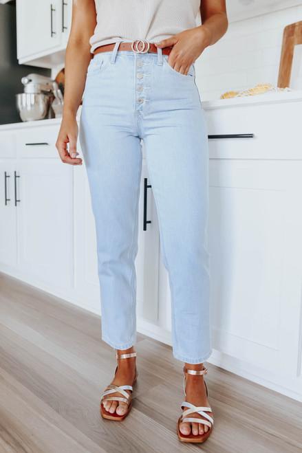 Whiplash 5-Button Light Wash Mom Jeans
