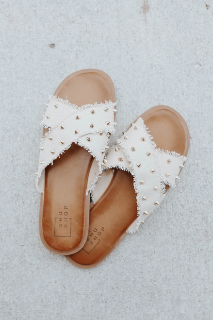 Cross Front Taupe Studded Frayed Sandals