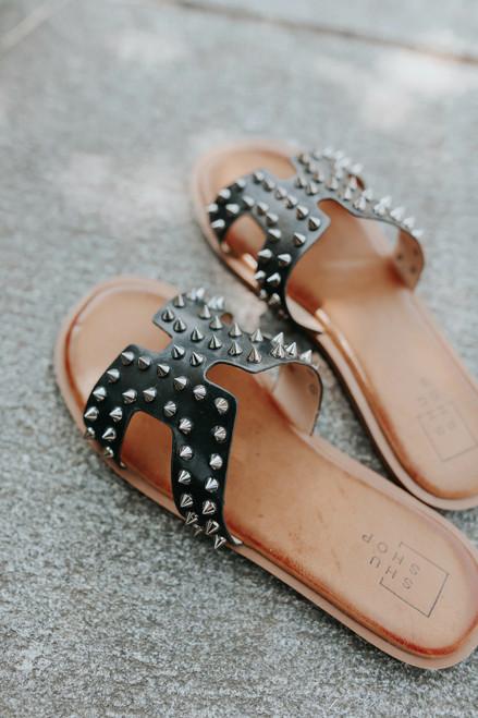 Maven Studded Black H-Band Sandals