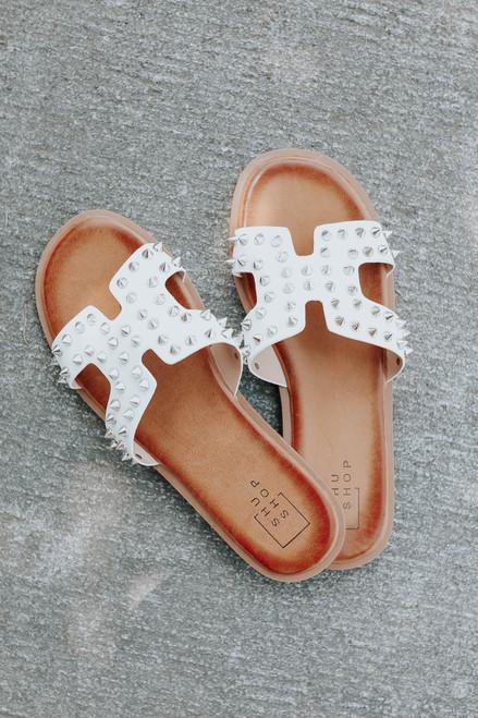 Maven Studded White H-Band Sandals