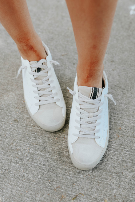 Faux Leather Distressed White Star Sneakers