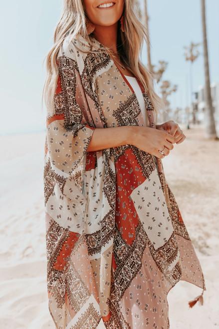 Desert Bound Mixed Print Tassel Kimono