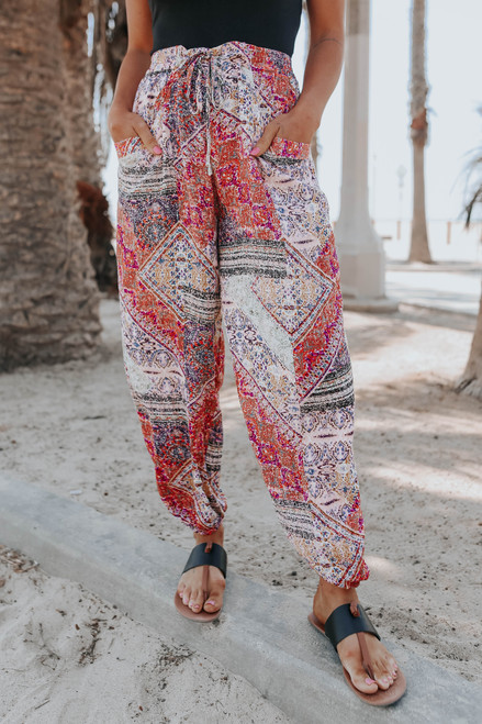Tie Front Berry Mixed Print Joggers