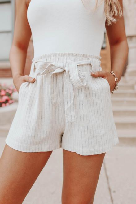Coastal View Striped Paperbag Linen Shorts