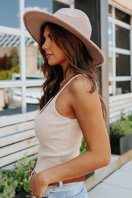 V-Neck Taupe Cable Sweater Tank