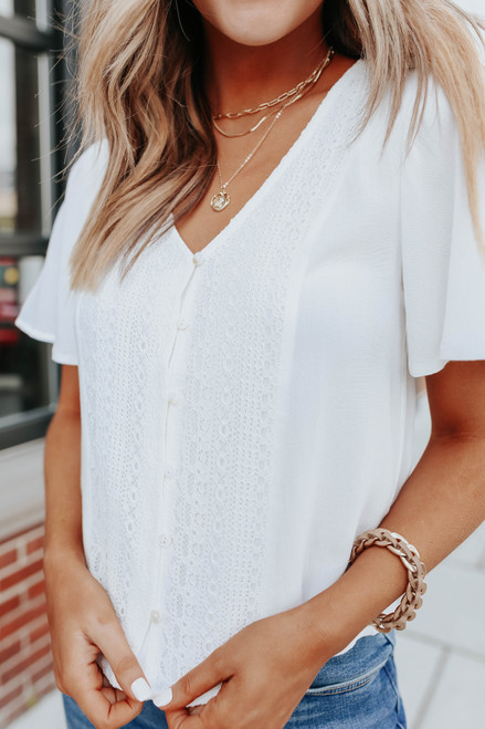 Button Down Lace Detail Ivory Top