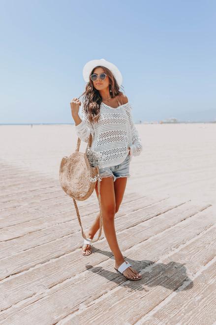 V-Neck Ivory Pointelle Sweater